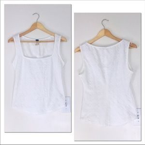 We the Free White Embossed Sleeveless Top